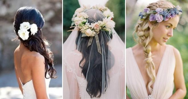 Свадебные прически с <strong>модная прическа с цветами</strong> цветами – самые красивые укладки с живыми и искусственными бутонами