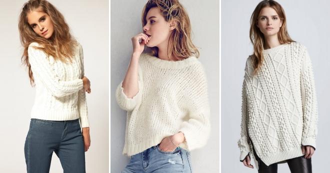 Белый вязаный свитер – с чем носить и как создавать модные образы?