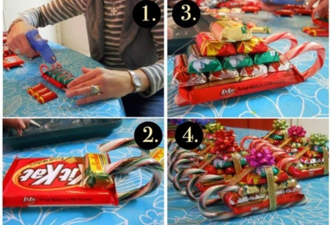новогодние поделки из конфет1