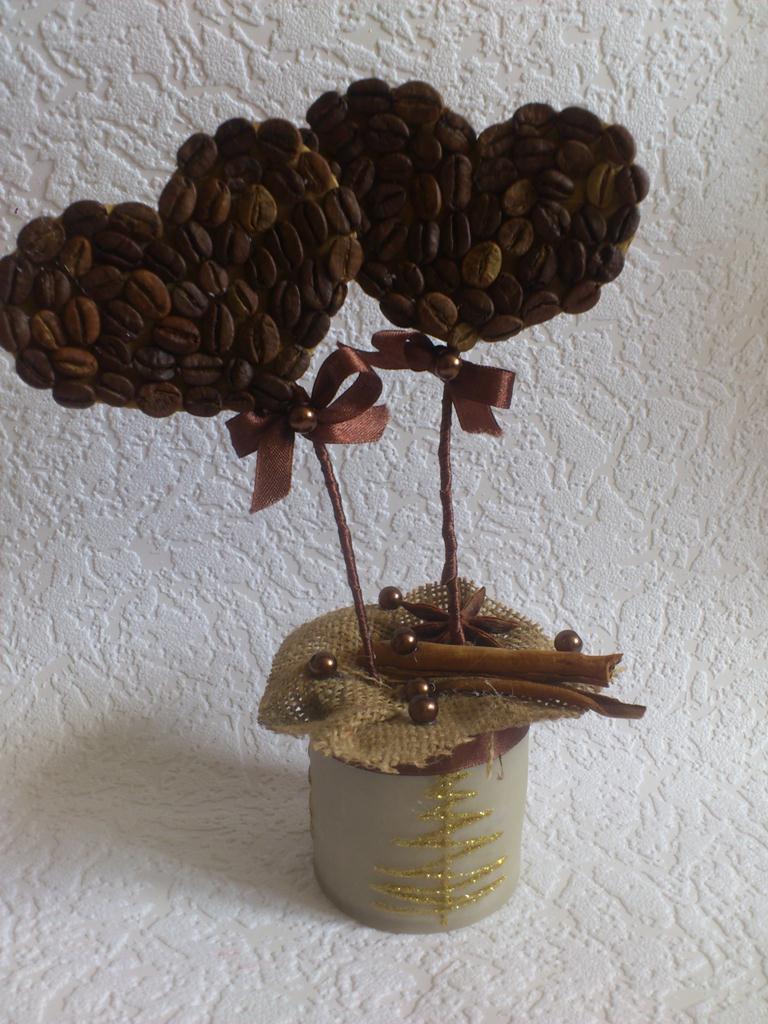 Топиарий из кофейных зерен своими руками - сердечки для любимого