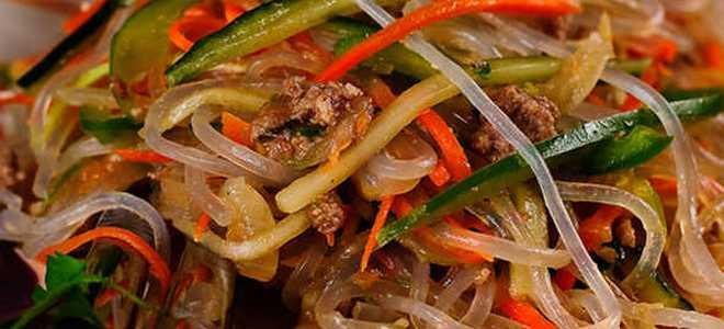 фунчоза с мясом и овощами по корейски