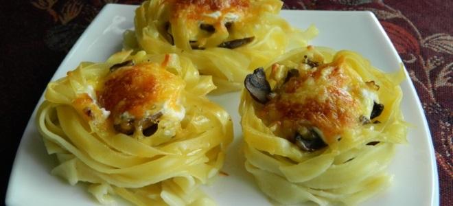 гнезда из макарон рецепты
