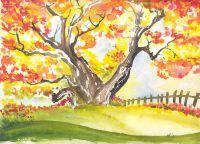 осень рисунки детей красками 6