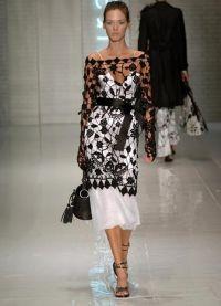 Черное платье вязаное спицами 1