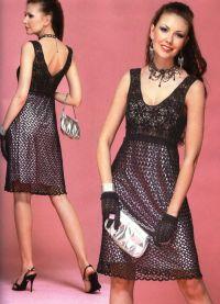 Черное платье вязаное спицами 2