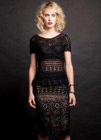 Черное платье вязаное спицами 4