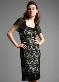 Черное платье вязаное спицами 5
