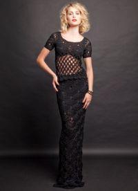 Черное платье вязаное спицами 6
