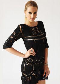 Черное платье вязаное спицами 8