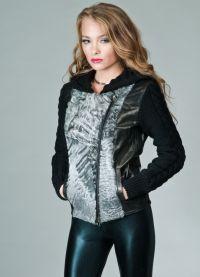 Куртка с вязанными рукавами 6