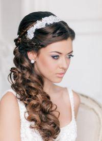 Свадебные прически для круглого лица 2