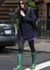 С чем носить зеленые сапоги 6
