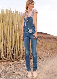 с чем носить джинсовый комбинезон 3