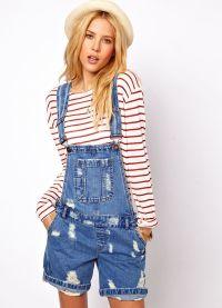 с чем носить джинсовый комбинезон 7