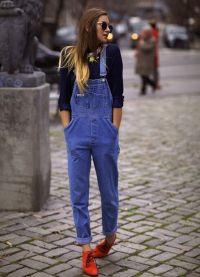 с чем носить джинсовый комбинезон 9