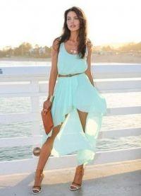 Шифоновое платье со шлейфом 7