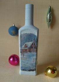 Декупаж новогодних бутылок1