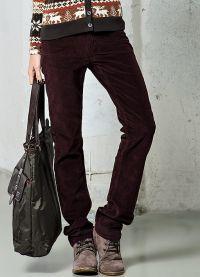 женские вельветовые брюки 1