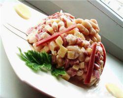салат с ветчиной и фасолью