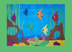 аппликация из цветной бумаги аквариум