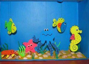 аппликация из цветной бумаги аквариум 8