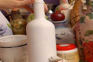 Декупаж бутылок салфетками2