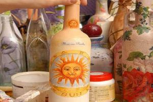 Декупаж бутылок салфетками8
