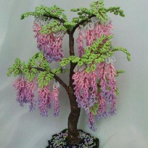 дерево из бисера глициния 25