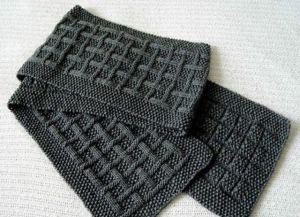 Узоры спицами для мужских шарфов_4