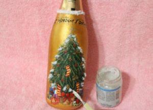 Декупаж новогодних бутылок35