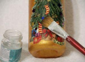 Декупаж новогодних бутылок37