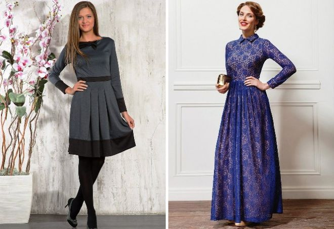 платье с длинным рукавом1
