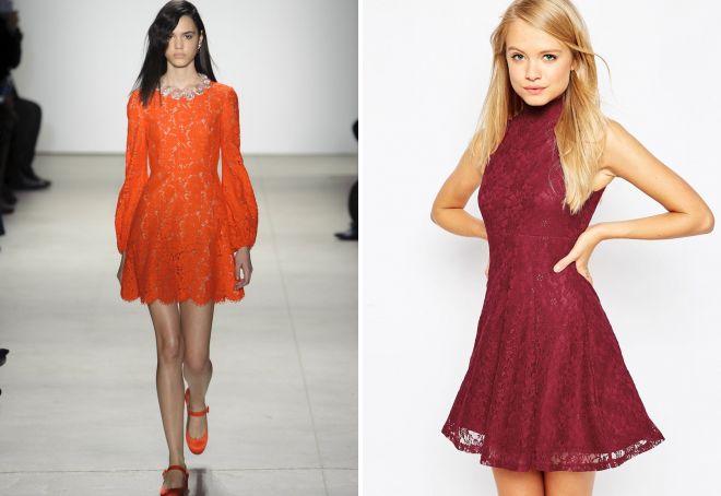 короткие вечерние кружевные платья
