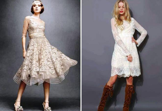 белые ретро платья