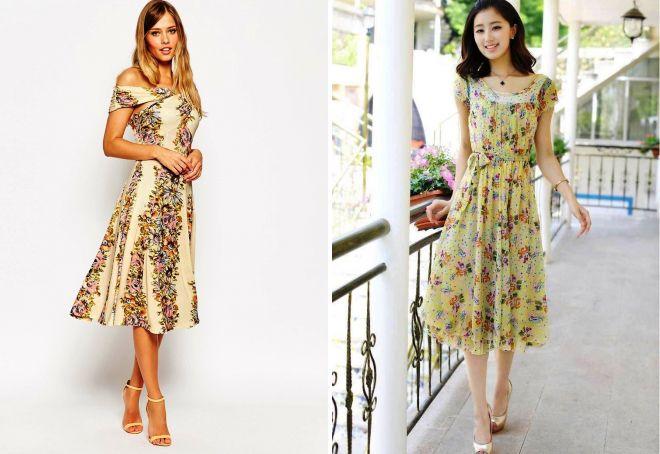 платья в стиле ретро с принтом