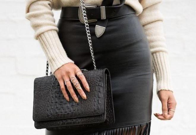 женские черные кожаные сумки