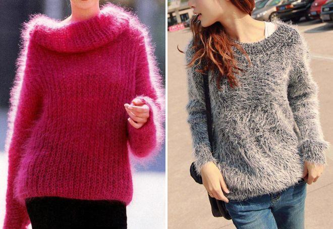 женский теплый вязаный свитер