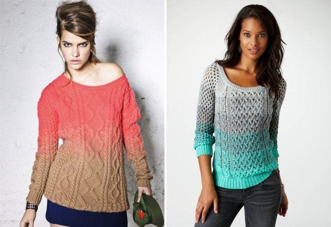 модели вязаных свитеров для женщин