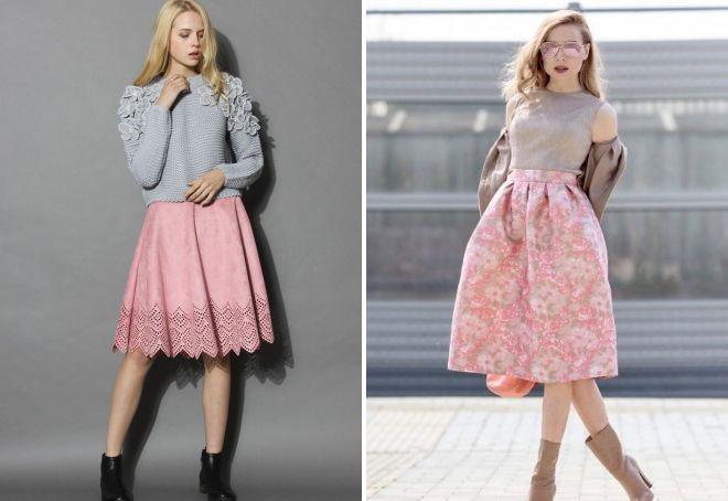 кружевная розовая юбка