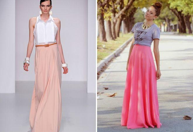 розовые юбки в пол