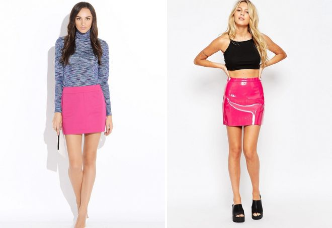 модные розовые короткие юбки