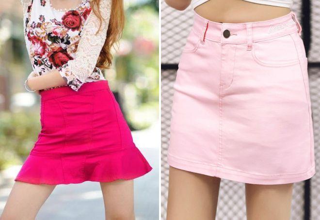 модная розовая джинсовая юбка