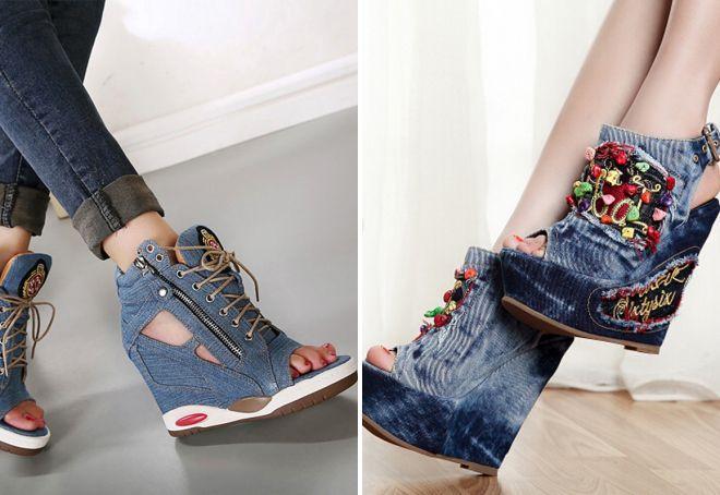 джинсовые туфли на танкетке