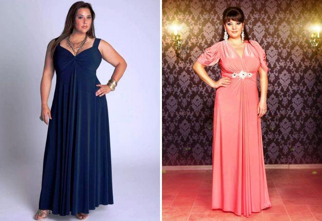 вечерние платья для полных женщин с животом