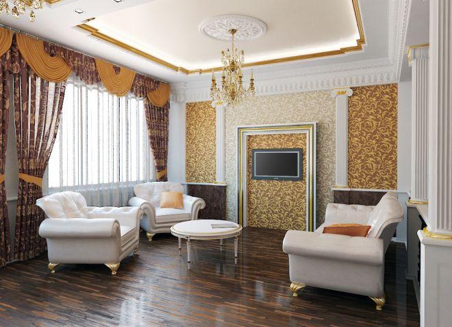 белый потолок в интерьере гостиной классического стиля