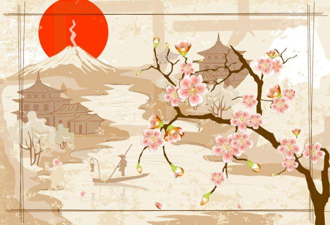 Японские картины в этно стиле
