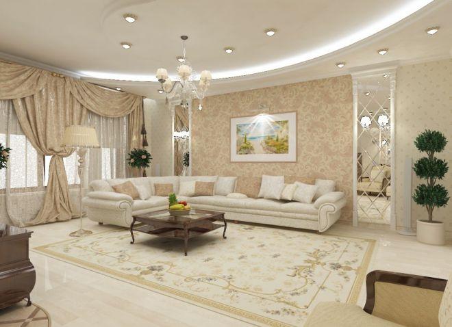 Интерьер гостиной в доме в классическом стиле 1