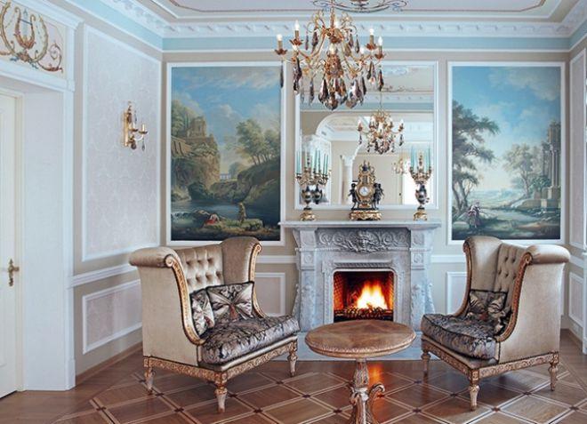 Интерьеры гостиной в классическом стиле с камином