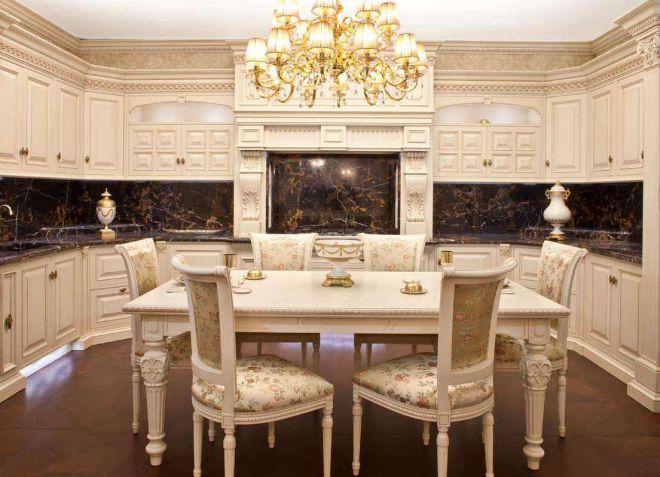 Интерьеры кухни столовой в классическом стиле