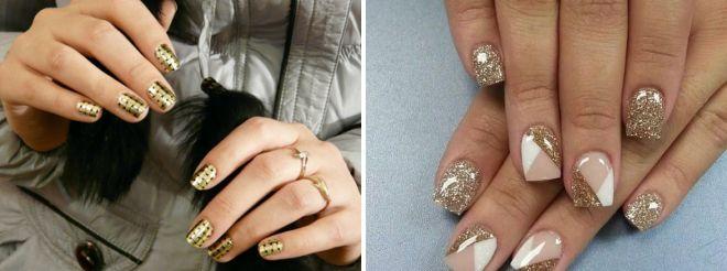 маникюр с золотом на короткие ногти 2017